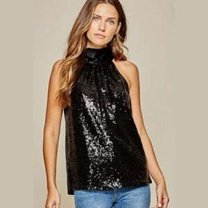 NWT Sequin Back Tie Top Blouse